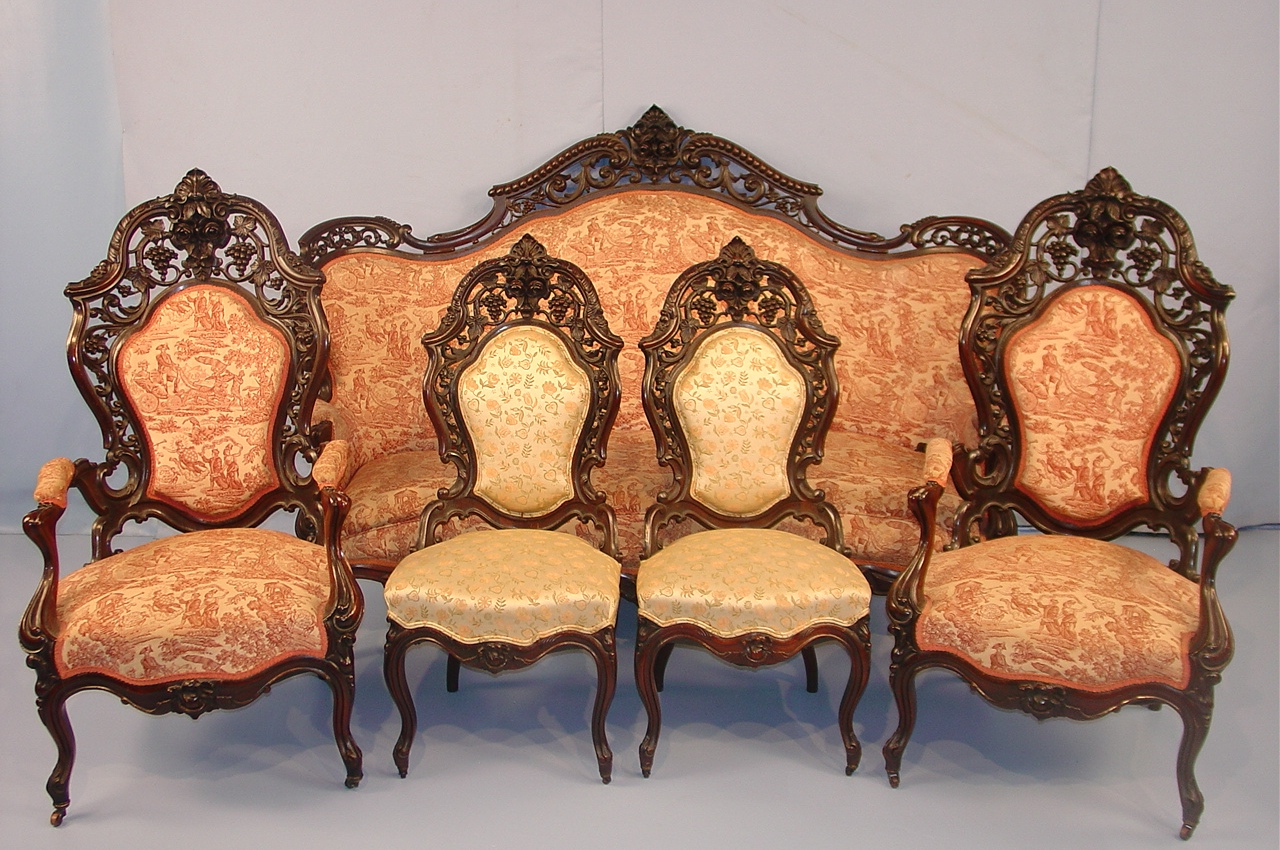 Antique Furniture. 183 144 190 Rosewood Rococo Parlor Set Laminated